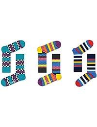 Happy Socks Men's Pattern Socks (Pack of 3) - Size: 7-10 UK