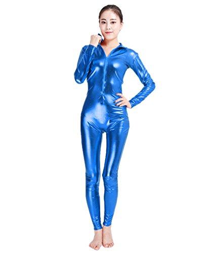 NiSeng Erwachsener und Kind Kostüm Catwoman Halloween Karneval Ganzkörperanzug Eleganter Jumpsuit Catsuit Bodysuits Saphir M (Catwoman Halloween Kostüm Für Kinder)