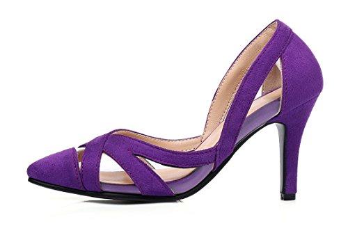 UH Femmes Sandales à Bout Pointu Creux Talons Moyen avec Stiletto Elegantes et Confortables Vernis et Nubuck Violet