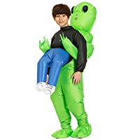 Reuvv Green Alien Carrying Human Costume Inflatable Funny Blow Up Suit Cosplay Costume Fancy Dress Cosplay Outfit Adult