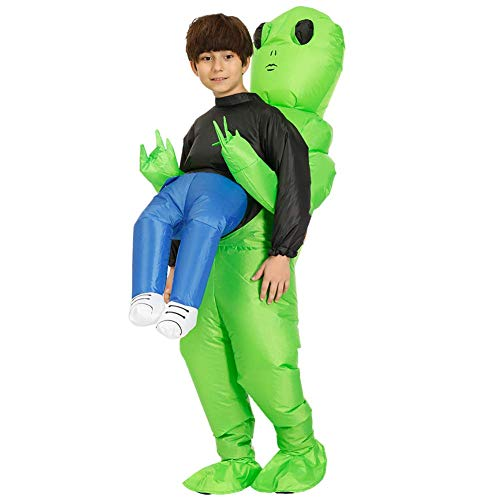LZSDLP Grüner Ausländer, der menschliches Kostüm-aufblasbares Kostüm-erwachsenes fantastisches Halloween-Party-Geburtstag Cosplay trägt (Kind) (Human Pet Kostüm)