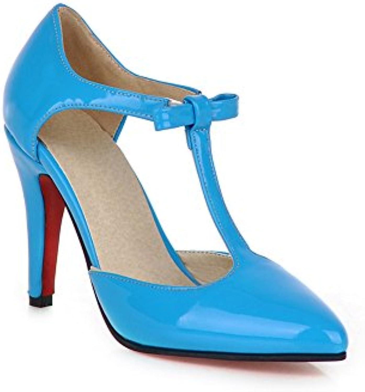 Exing Zapatos de Mujer Nuevo Patente de Cuero Acentuado Baotou Sexy Boca Baja Sandalias de Tacón con Hebilla EN...