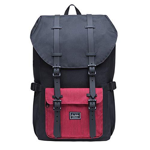 """KAUKKO Rucksack Damen Herren Studenten 17 Zoll Backpack für 15"""" Notebook Lässiger Daypacks Schüler Bag für Wandern 46 cm, 20 L (Schwarz n redEP5-5)"""