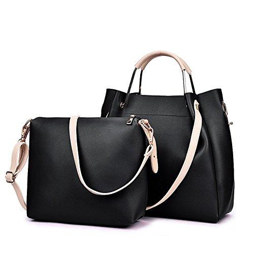 Groß PU Leder Handtaschen Damen Henkeltaschen Cross Body Umhängetaschen Schultertaschen  Taschen Set für Frauen Mädchen - Schwarz