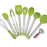 Utensili da cucina, Bravrain 9pezzi Set di utensili da cucina in acciaio INOX e silicone, antiaderente antigraffio Cooking utensils-spoon spatole, pelapatate, frusta, mestolo, mestolo, pinze, pasta server Green
