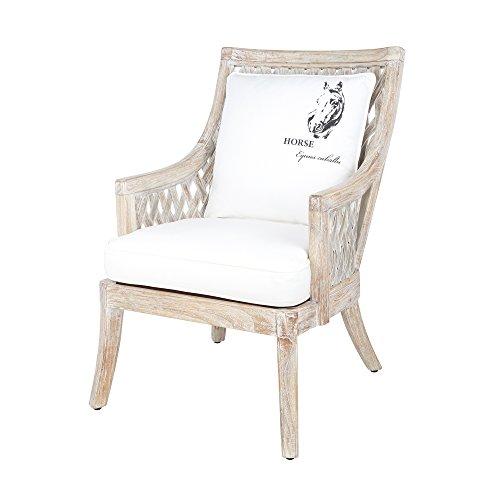 Rattansessel BEGUR - Bambussessel - Wohnzimmer-Sessel mit Sitzkissen - Sand/Weiß