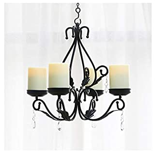 JXM Iron chandelier Vintage chandelier Indoor lighting Simulation Electronic candle 4 heads With battery led Suitable for bar Exhibition hall living room Home Decoration church,Black