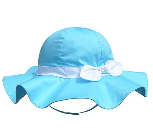 Pormow Frühjahr/Sommer Baumwolle Baby Mädchen Bowknot SonnenHut/Beach Hut/Outdoor Hut (48cm/12-24m, See-Blau)