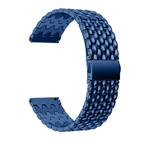HappyTop Uhrenarmband 23mm, staninless Stahl Armbanduhr Band Wrist Strap für Fitbit Blaze Smart Watch S blau - Gps-lock