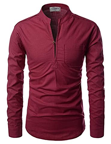 Nearkin (NKNKN351) Henley Neck Lightweight Chinese Collar Cool Linen Shirts WINE UK L(Tag size L)
