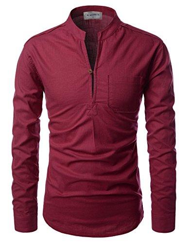 Nearkin Herren Freizeit-Hemd, Durchgehend Gr. X-Large, NKNKN351-WINE (Button-down-vintage-shorts)