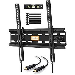 Inclinabile a basso profilo TV staffa da parete per la maggior parte 23–139,7cm OLED, LED, LCD e plasma TV a schermo piatto con VESA fino a 400x 400mm–bonus 10metri cavo HDMI, livella a bolla, tasselli per cemento e fascette di Perlegear