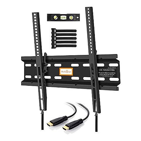 inclinable Low Profile support mural pour TV pour la plupart des 23–139,7cm LED, LCD, OLED et plasma téléviseurs à écran plat avec VESA jusqu'à 400x 400mm–Bonus 10Pieds câble HDMI, niveau à bulle, béton ancres et attaches de câble par Perlegear