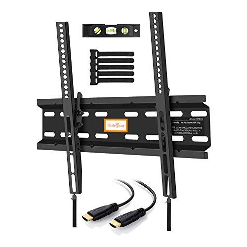 Perlegear Tilt TV Bracket Slim, Adjustable, Heavy Duty - Tilt TV Mount For 23-55 Inch LED OLED LCD Flat Screen TVs - Low Profile TV Bracket Saves Space - Includes 1.8m HDMI Cable, Bubble Level