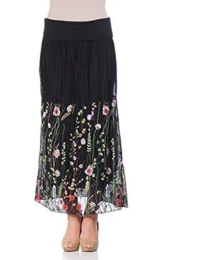 Laura Moretti - Falda larga de seda con diseño floral