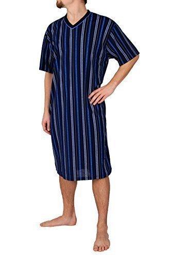 Herrennachthemd, kurzarm, 100% Baumwolle, L XL XXL XXXL Dunkelblau