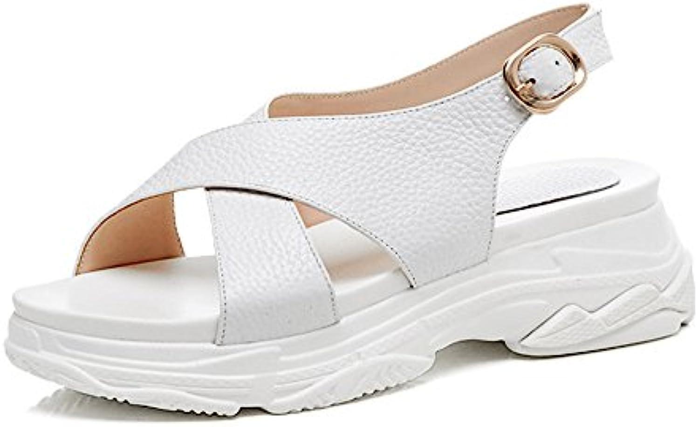 Shymamamiya Zapatos de Cuero de Verano de la Pendiente de Las Mujeres con Sandalias de los Deportes Ocasionales...
