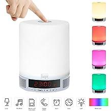 LUJII Lámpara de Mesa Regulable con Bluetooth 4.0 Altavoz, Despertador, Visualización de la Hora del LED, Soporte de tarjeta TF Micrófono Incorporado y Batería 1800mAh - Llamadas de Manos Libres