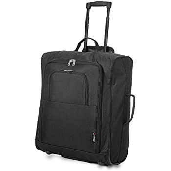 5 Cities Cabin Approved Trolley Bag, Black, 21-Inch / 55cm: Amazon