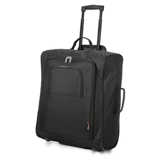 5 Cities Easyjet, British Airways, Jet2 56X45X25Cm Maximum Cabin Hand Luggage Approved Trolley Bag Equipaje de mano, 56 cm, 60 liters, Negro (Black)