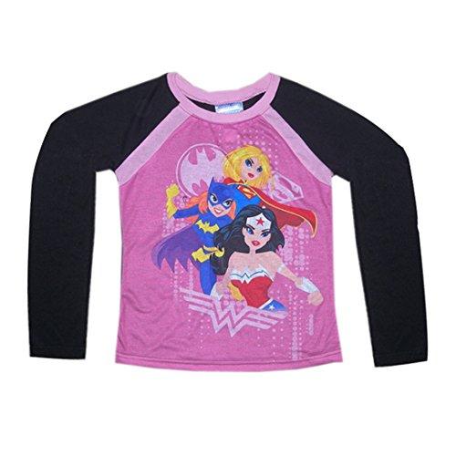 Justice League (Supergirl, Batgirl) Mädchen Nachtwäsche / Pyjama Top L Pink & Schwarz