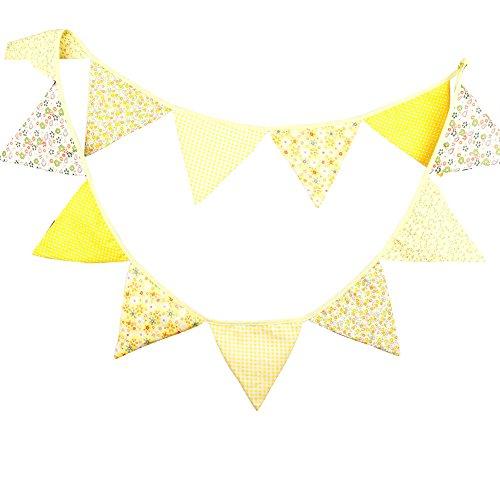 Nikgic Wimpeln Wimpelkette Baumwolle farbenfrohe mit 12 Wimpel Deko für Kinderzimmer Baby Geburtstage Hochzeit Gelb für Draußen Länge 3.2m