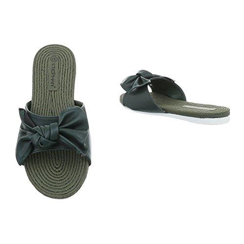 Ital-Design Pantoletten Damenschuhe Sandalen Sandaletten Grün P-751