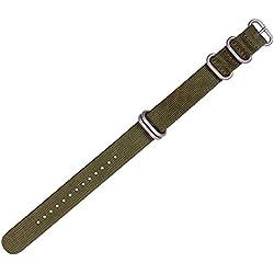 ygdz 20mm Nylon grün gestreift Ersatz Uhrenarmband Band mit Silber Schließe