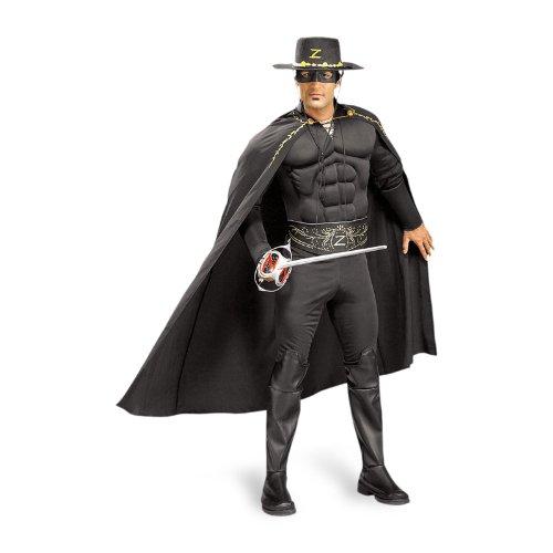 Zorro Kostüm mit Muskeln, für Erwachsene, 6 Teile, günstiges Komplettkostüm - (Für Zorro Männer Kostüm)