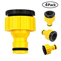 Womdee Plastic Garden Hose Tap Connector, 4 Pack 1/2 Inch And 3/4 Inch Size Hose Pipe Quick Connector For Gardening, Car Washing