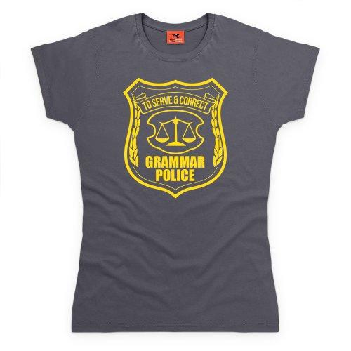Grammar Police T-Shirt, Damen Anthrazit