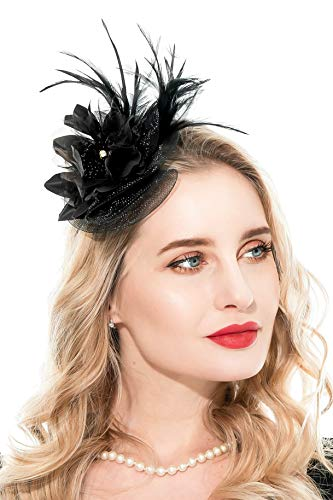 Zivyes Fascinators Hut für Frauen Tea Party Stirnband Kostüm Zubehör Hochzeit Cocktail Blume Mesh Federn Haarspange (1-Purple) (Black) (Black Tea-party-hut)