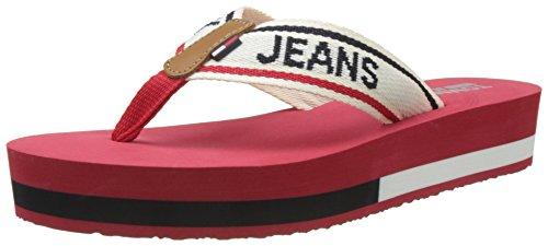 Hilfiger Denim Damen Tommy Jeans MID Beach Sandal Zehentrenner, Rot (Tango Red 611), 39 EU