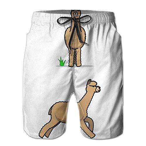 Cartoon Lama Alpaka Schnell Trocknend Elastische Spitze Boardshorts Strand Shorts Hosen Badehose Spaß Männlichen Badeanzug mit Taschen (Badeanzug Kinder Carters)