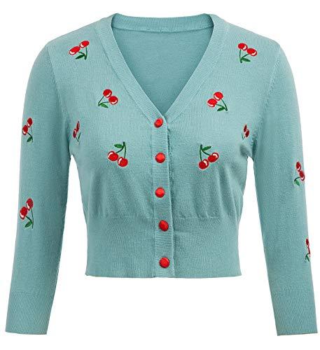 Damen Kurz Cardigan Elegant Bolero Soft 3/4 Ärmel Jäckchen Contrast Button Bolero BP609-5 L