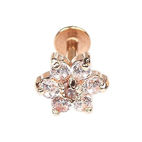 BODYA 1pc Rose Gold 16G 7mm Cubic Zirconia flower Lip Rings Labret Nose Studs Helix Round Shape Stud Earring Body Piercing