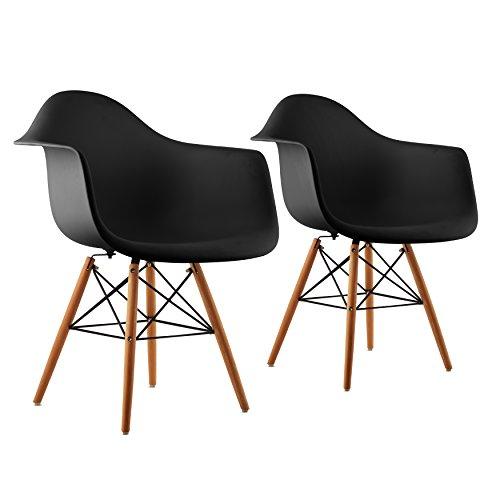 OneConcept Bellagio - 2 x Schalenstuhl, Vintage 2-er Set, 70er-Jahre Retro Look, PP-Schale, breite Sitzfläche, 43 cm Sitzhöhe, schmale Armlehne, Birkenholz, Zeitloses Design, schwarz