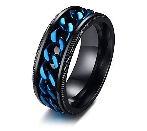 Edelstahl Schmuck Zwei Ton Schwarz und Blau Blau Kandare Ketten Centered Spinner Ehering Band für Männer