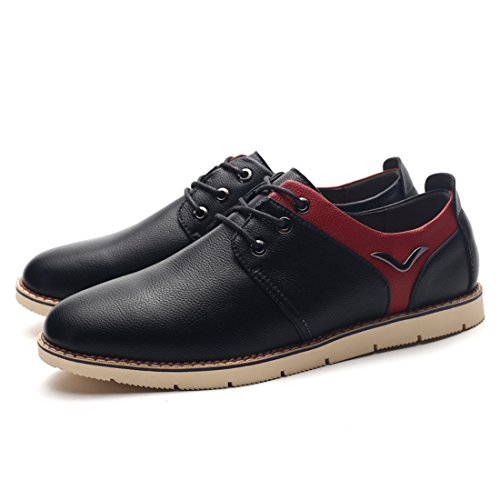 Men's Black Blue Soft Leather Oxfords Shoes 282 black