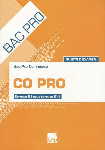 CO PRO Bac pro commerce : Sujets d'examen Epreuve E1 sous-épreuve E11 PDF Books