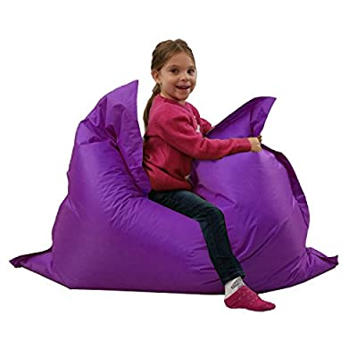Kids BeanBag Large 6-Way Garden Lounger - GIANT Childrens Bean Bags Outdoor Floor Cushion PURPLE - 100% Water Resistant