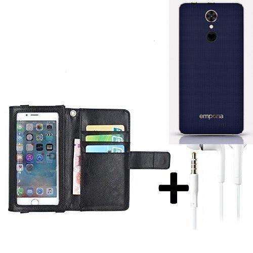 K-S-Trade TOP Set für Emporia SMART.2Schutz Hülle Case mit Displayschutz/Schutzfolie schwarz + Kopfhörer Flip Cover Wallet case Etui Hülle Für Emporia SMART.2