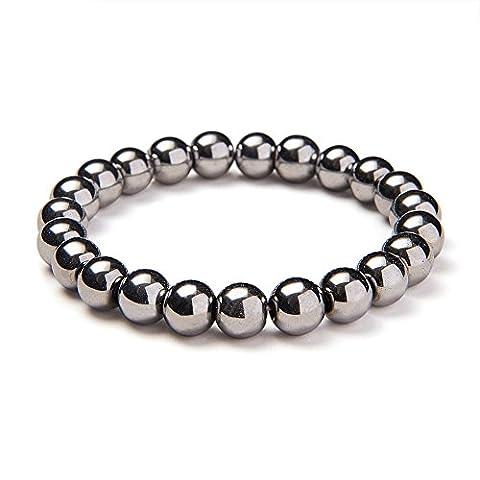 Sunnyclue Sparkling synthétiques Plaqué argent hématite pierres Guérison Bracelet stretch Perles rondes 8 mm environ 17,8 cm Unisexe