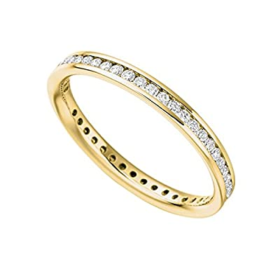 2MM 0.50 Carat F/SI Round Diamond Channel Set Full Eternity Ring in Yellow Gold
