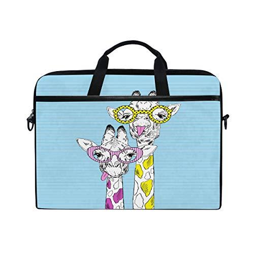 ISAOA Laptoptasche mit Giraffenmotiv in Funky Brille, handgezeichnet, leicht, Schultertasche für Laptops von 35,6-39,6 cm (14-15,6 Zoll)