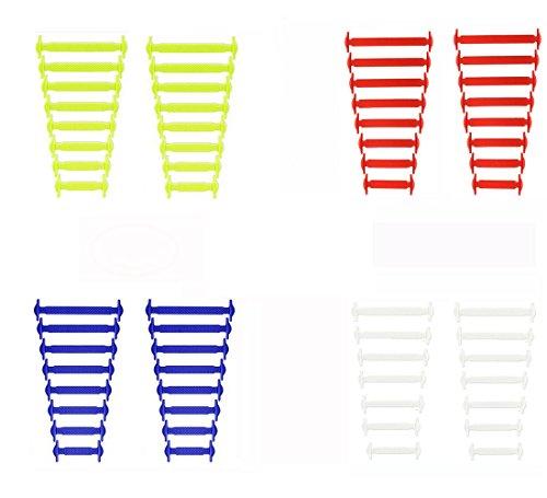 Paio di Lacci Elastici Da Scarpe Sportive In Silicone, Lacci per Scarpe per Bambini e Adulti Unisex, Multicolore (Bianco + Giallo + Rosso + Blu)
