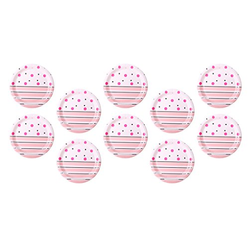 Fenteer 10 X Dots Streifen Geburtstagsfeier Kuchen Pappteller Baby Dusche Papiergeschirr Teller - Rosa, 18,1x18,1x1,2cm
