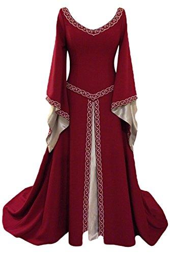 Tollstore Damen Mittelalter Kleid V-Kragen mit Trompetenärmel, Renaissance Mittelalterliche Viktorianischen Königin Kostüm, Langarm Bodenlang Maxikleid Partykleid Weinrot L