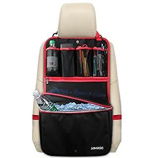 Aomaso Rücksitzorganiser Kühler Viele Taschen Reisen Aufbewahrung Tasche(Hitzebeständig) Ablagefächer und Netztaschen Schwarz und rot
