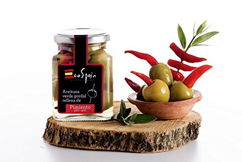 Grüne Oliven Gordal (groß) mit Piri-piri pfeffer gestopft. CAT: I- Größe 80-90.Gourmet Produkt. Nettogewicht 300 gr. -
